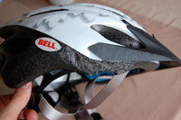 Damaged cycle helmet