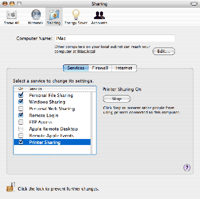 System preferences --> Sharing