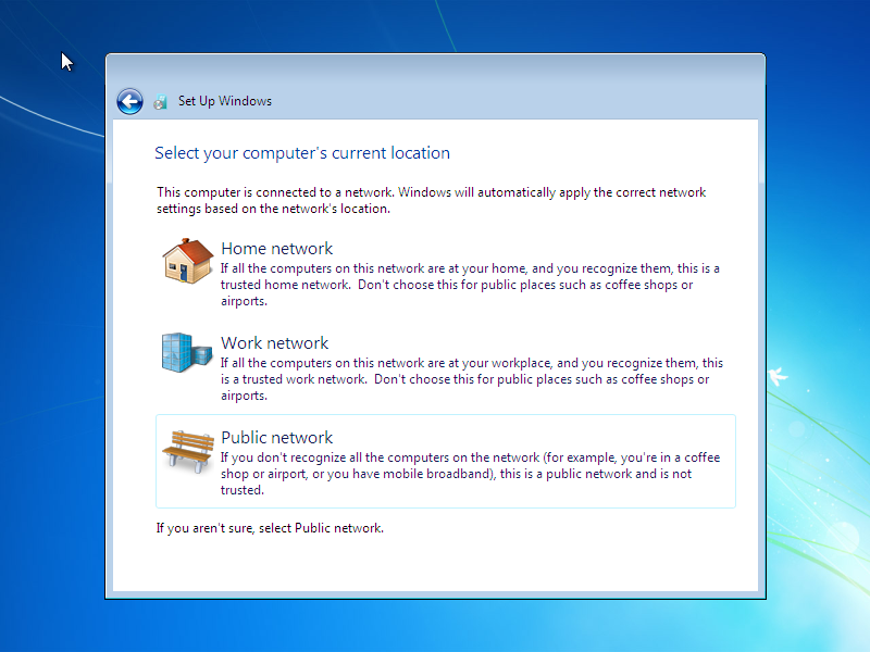 Windows 7 Network Location